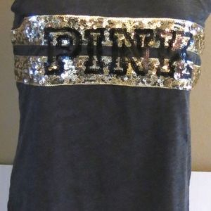 VS PINK Black Gold Logo Bling Tank Top